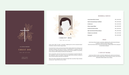 Floral memorial and funeral invitation card template design, magnolia and leaves, scarlet and orange tones