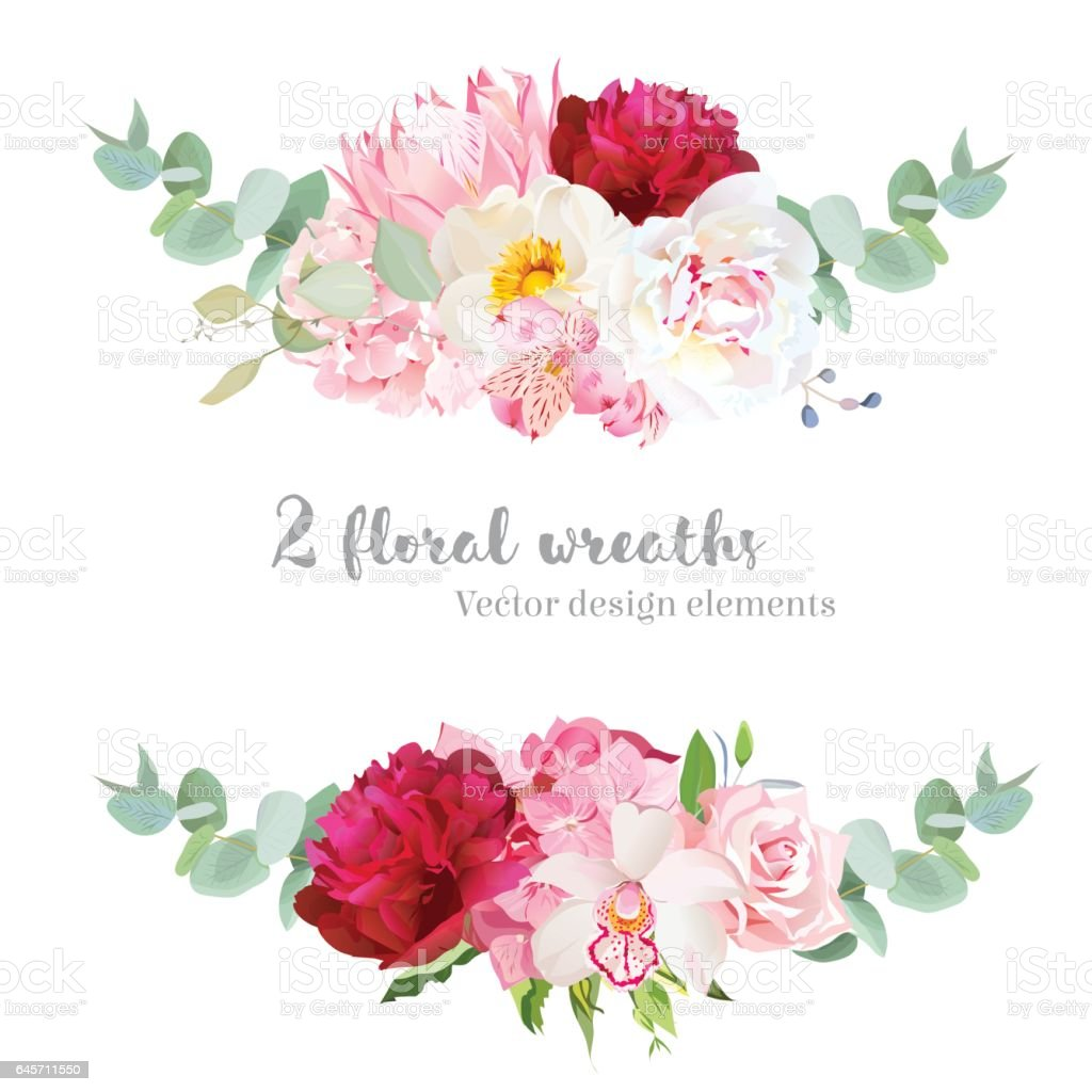 Floral mix wreath vector design set. vector art illustration
