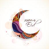 Floral design decorated crescent moon on shiny background for Muslim community festival, Eid Mubarak celebrtion.