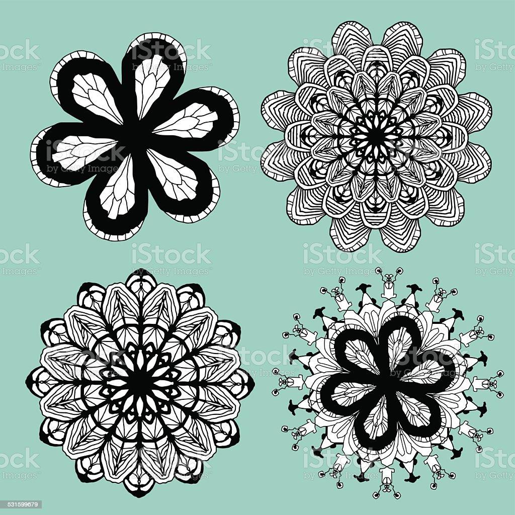 Floral Motif Set vector art illustration
