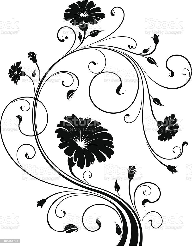 floral motif stock vector art more images of black color 165554738 istock. Black Bedroom Furniture Sets. Home Design Ideas