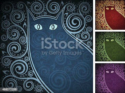 Set of vintage floral backgrounds with cat`s silhouette (4 colour versions). EPS10, RGB. Gradients and elements with transparency different from normal used. All elements can be easily removed if needed. Zip contains 2 versions (AI CS5, AI CS2), TIFFs (5262 x 3721 px, RGB).