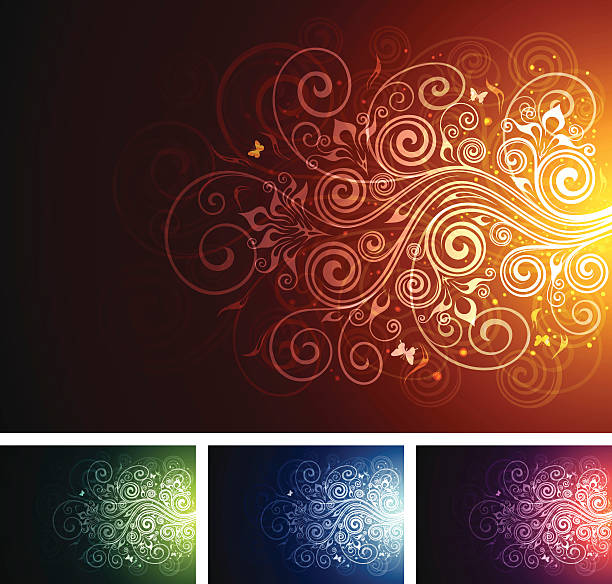 Floral multi-coloured backgrounds vector art illustration