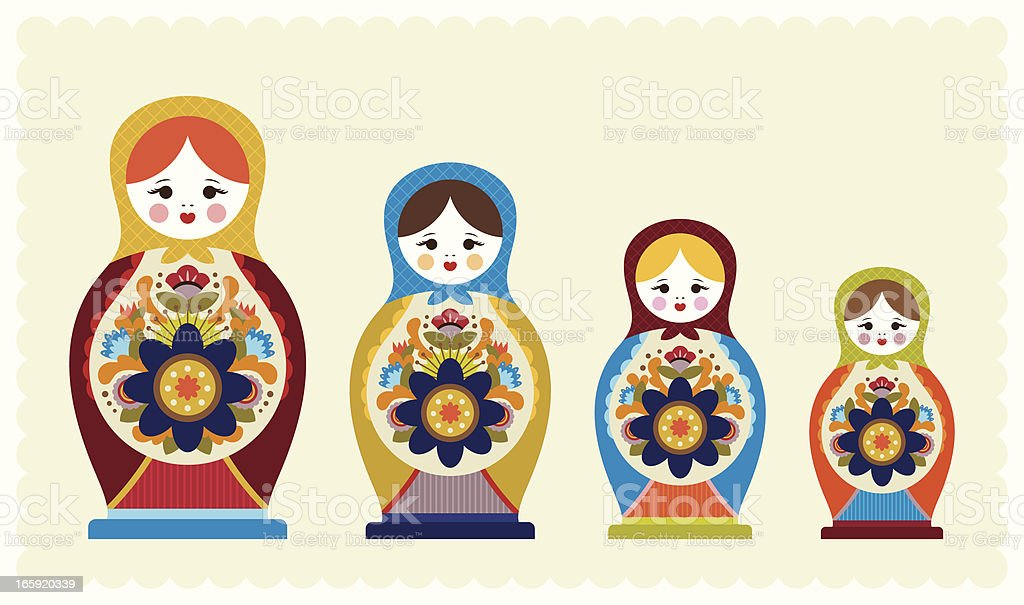 Floral Nesting Dolls royalty-free stock vector art