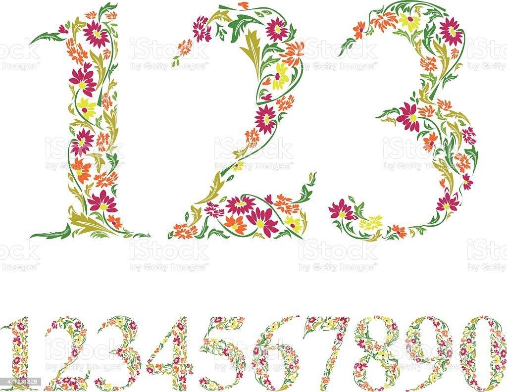 Floral numbers set, vintage style numerals, vector set. vector art illustration