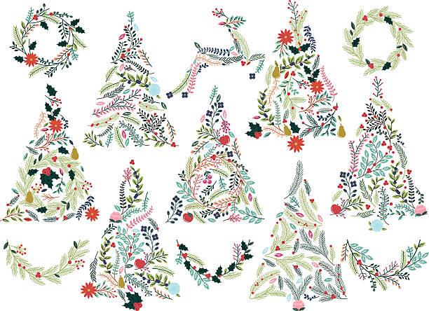 geblümtes oder botanische weihnachten bäume, ostereier, bunte fähnchen und rentier - blumengirlanden stock-grafiken, -clipart, -cartoons und -symbole