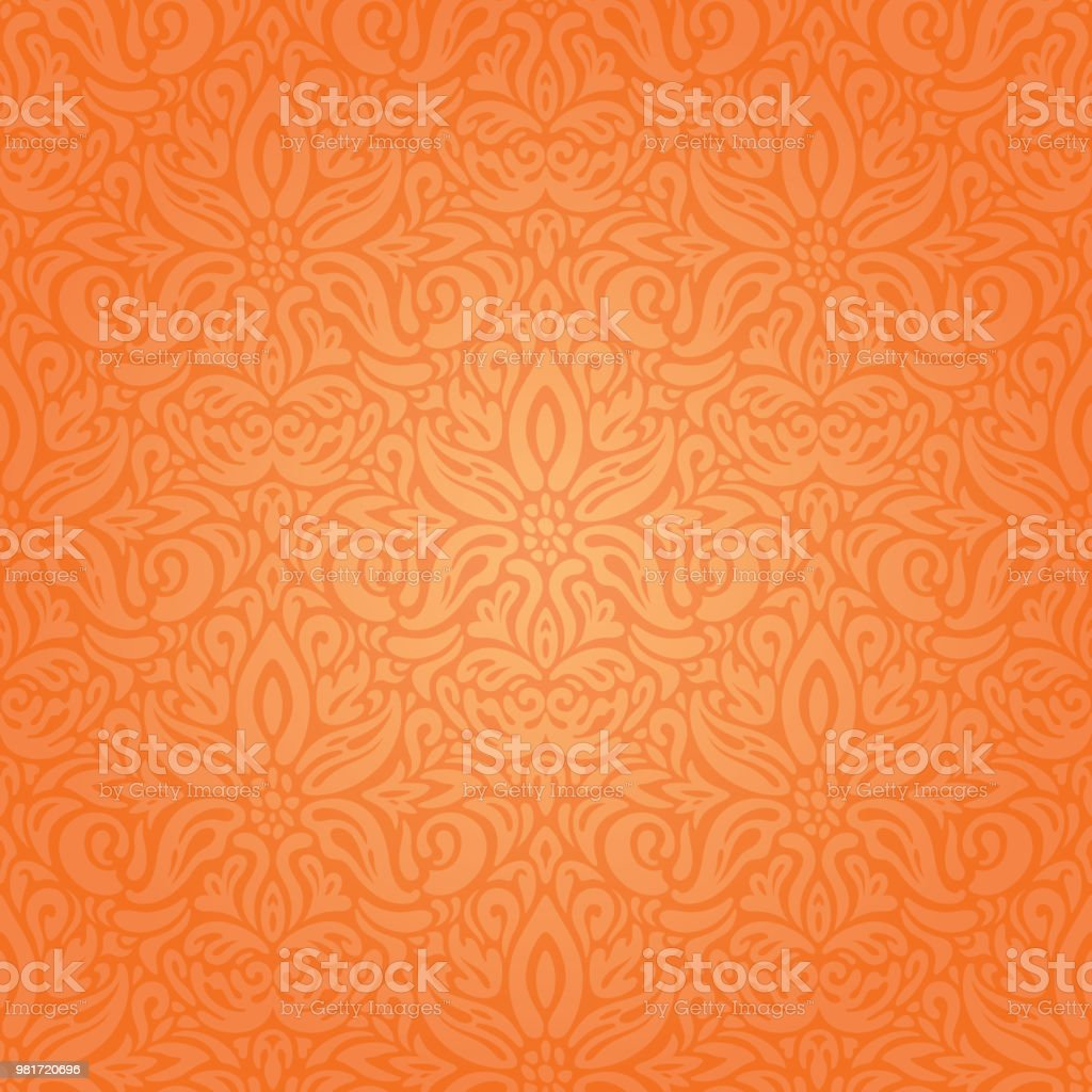 floral orange retro style colorful wallpaper background vector id981720696