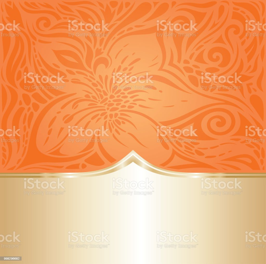 floral orange retro style colorful wallpaper background vector id998296682