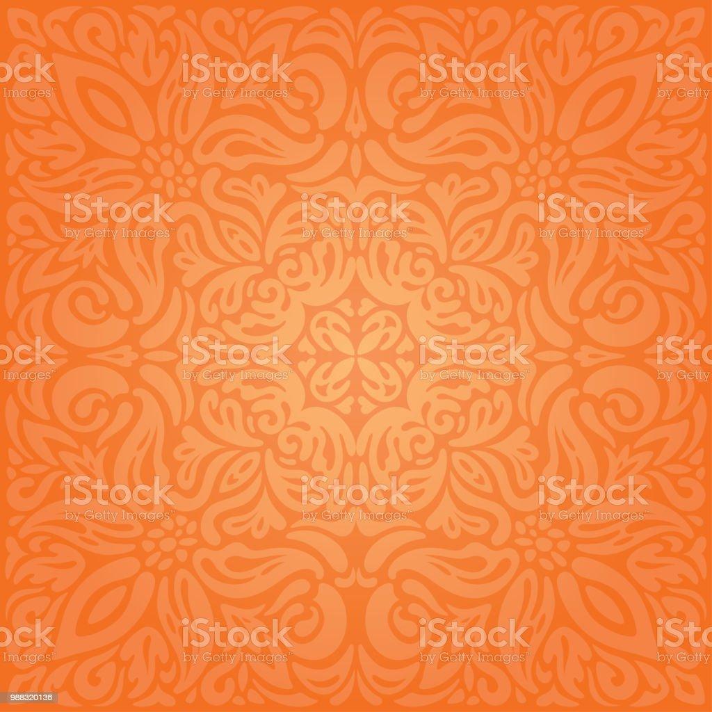 Mandala De Vintage Fond Curvy Floral Du Orange Retro Style Papier