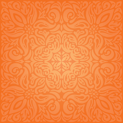 floral orange retro style colorful wallpaper vintage curvy background vector