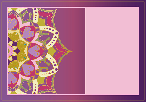 Floral oriental pattern. Beautiful Mandala. Vintage decorative element. Ethnic round ornament. Template of greeting card and invitation