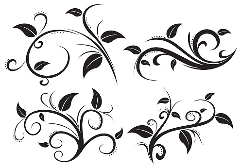 Floral ornament element collection