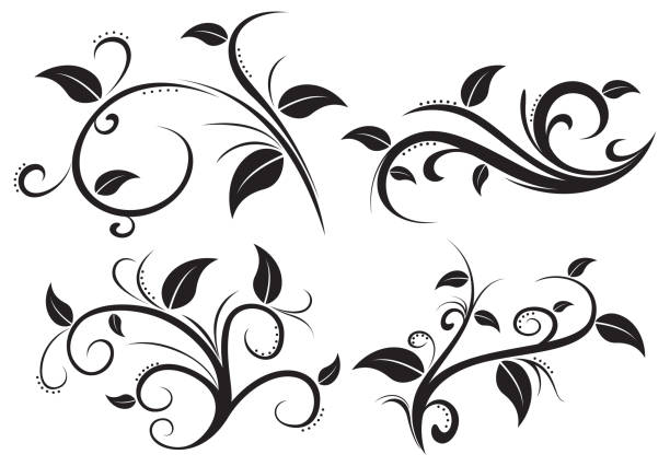 floral ornament element collection - swirl pattern stock illustrations