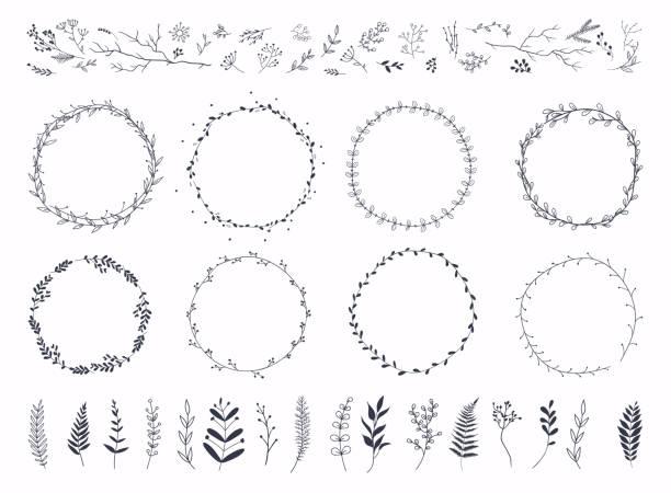 Floral ornament frames. Hand drawn ornamental borders, Decorative leaves frame. Floral ornament frames. Hand drawn ornamental borders, Decorative leaves frame. bay leaf stock illustrations