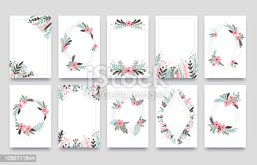 Floral ornament invitation card. Willow leafs frame border, ornaments frames corners and ornamental twig wedding cards. Spring flower greeting elegant card vector template isolated set