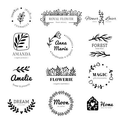 Floral ornament logo. Laurel leaves wreath frame, doodle flower leaf label and vintage flowers ornaments badges isolated vector set