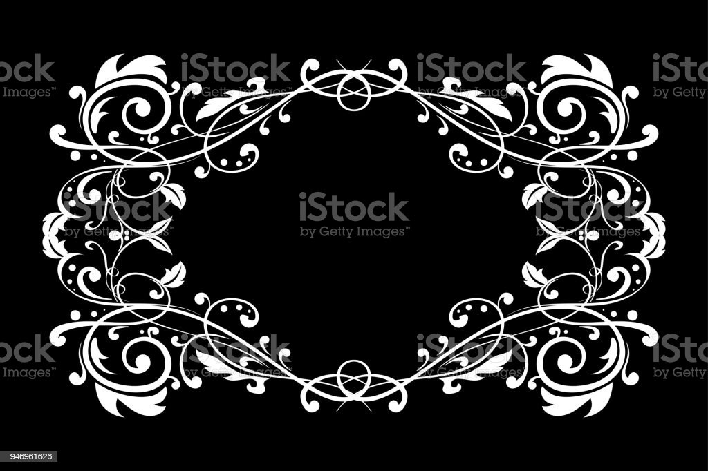Floral Ornament On Black Background Vintage Frame Royalty Free