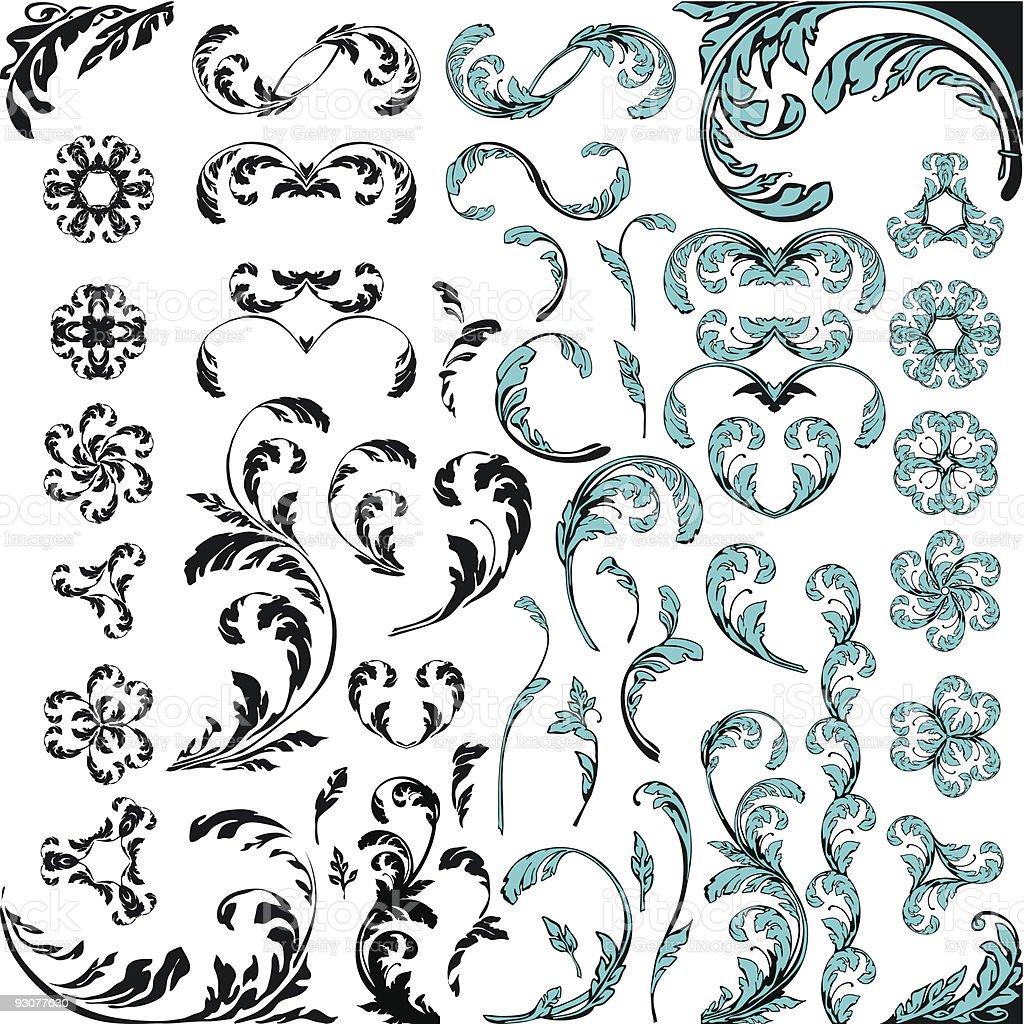 Floral ornament vector design elements royalty-free stock vector art