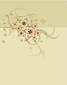 Elegant floral ornament in soft  background colors.