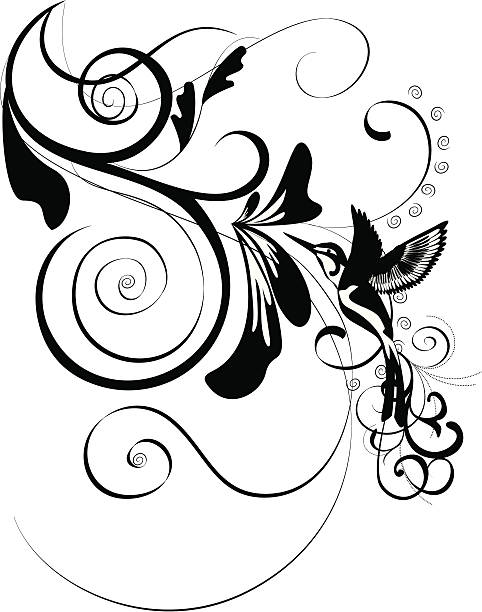 floral ornament with bird vector art illustration