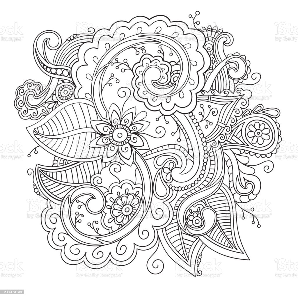 Floral ornamental doodle pattern vector art illustration