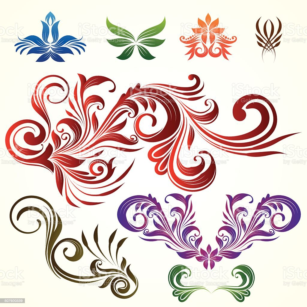 Floral Ornamental Elements vector art illustration