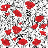 Hand drawn red poppies with  black and white backgrond, seamlessly repeating ornamental wallpaper pattern.