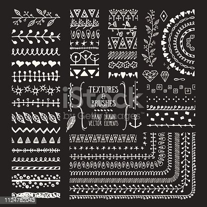 Hand drawn brushes and textures. Artistic collections of design elements, flowers, brunches, plants, geometric shapes, ethnic patterns made with ink. Pattern brushes are included in EPS. Isolated vector clipart.