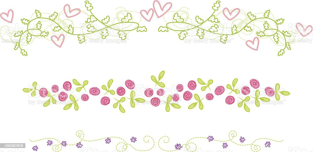 floral ornaments with flowers and hearts vector art illustration