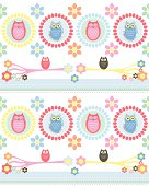 Vintage style owl, branch and floral repeat stripe design.