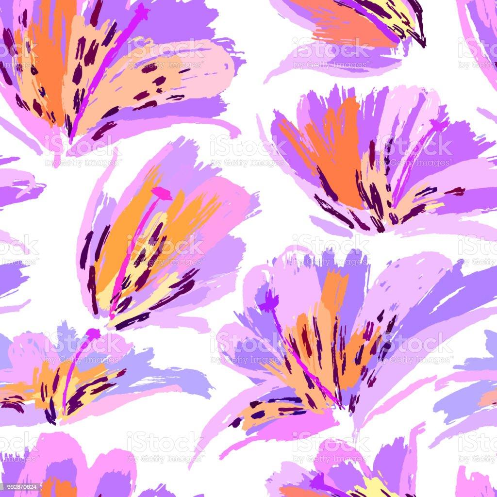 çiçek Boyama Seamless Modeli Serbest El Renkli Arka Plan Botanik