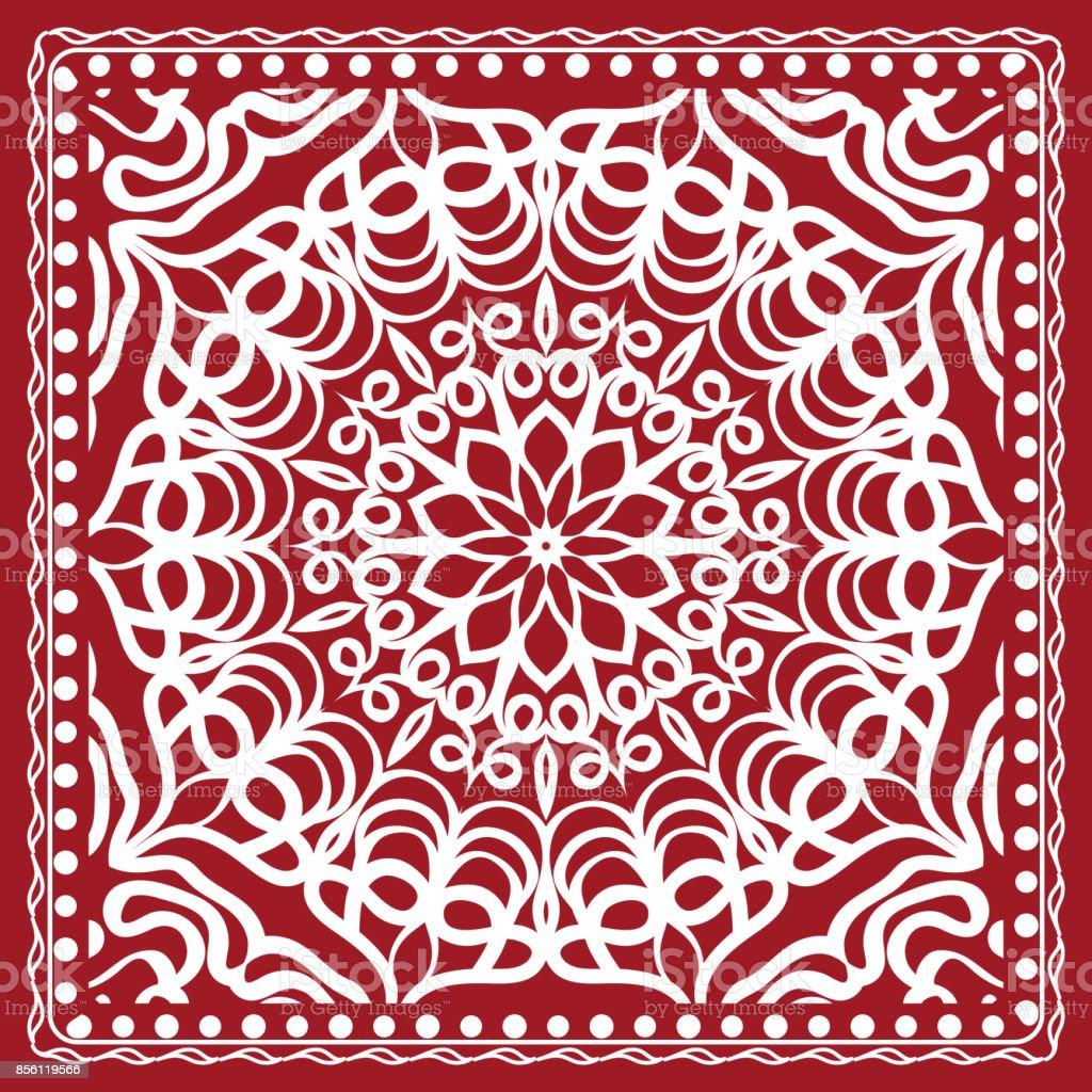 Floral Paisley Medallion Ornamental Rug Ethnic Mandala Frame Vintage ...