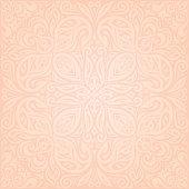 Floral Pale ecru vector pattern wallpaper mandala design background  in trendy fashion vintage style