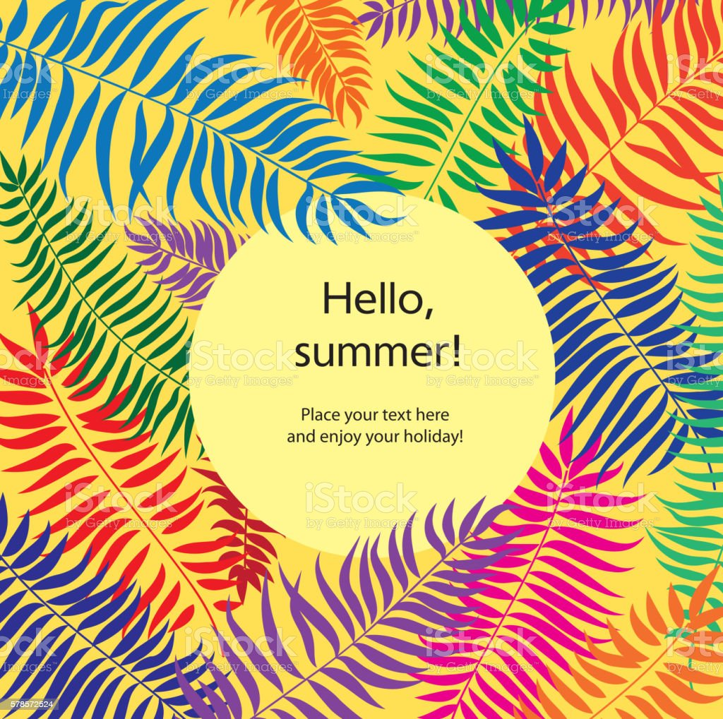 Exceptional Floral Palm Leaves Frame Background. Hello Summer Holiday Card.  Royalty Free Floral Palm