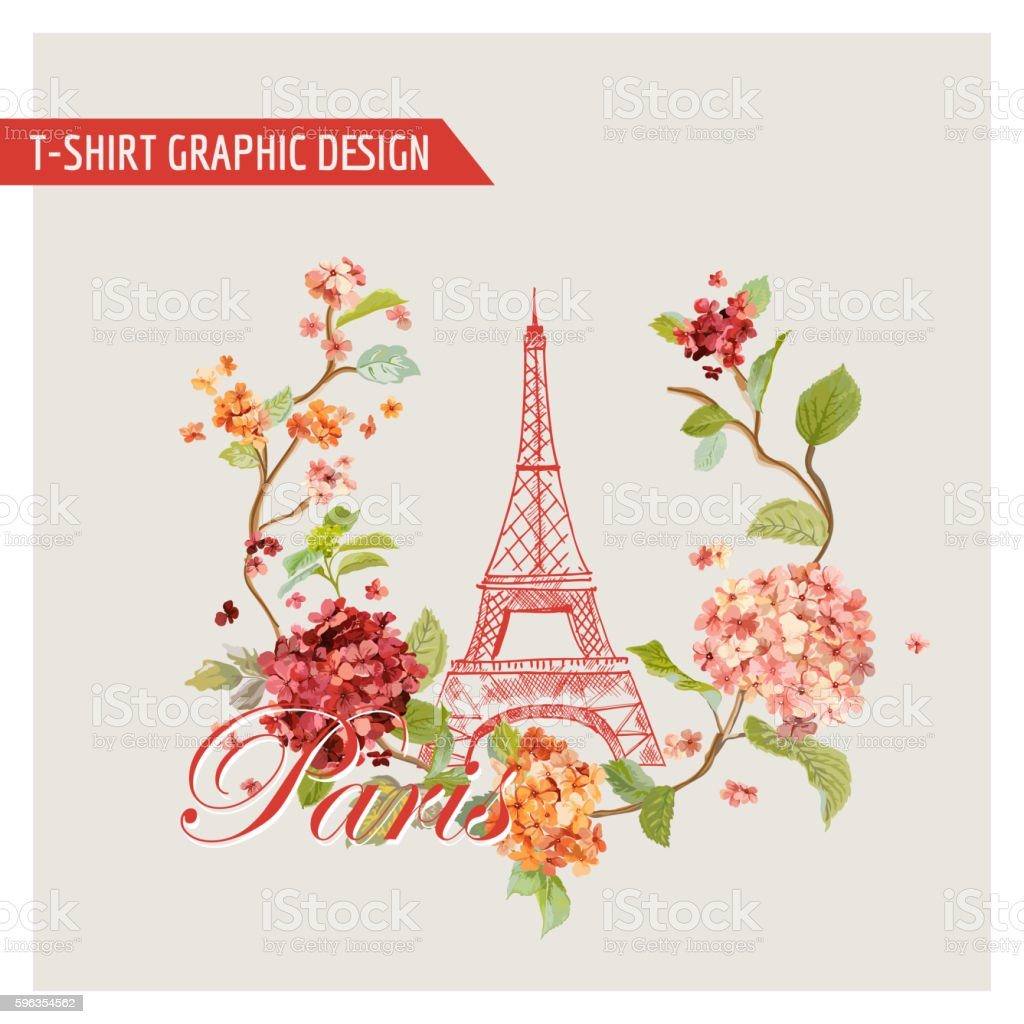 Floral Paris Graphic Design - for T-shirt, Fashion, Background royalty-free floral paris graphic design for tshirt fashion background stock vector art & more images of backgrounds