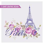 Floral Paris Graphic Design - for t-shirt, fashion, prints