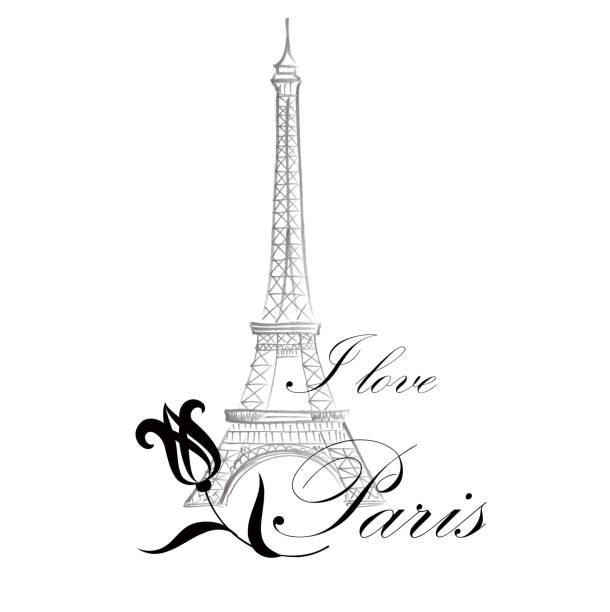 Floral Paris ymbol Famous landmark Eiffil Tower. Travel France card Floral Paris Illustration Famous Paris landmark Eiffil Tower. Travel France Graphic Design paris black and white stock illustrations