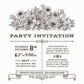 Black and white invitation with vintage flowers.File is layered with global colors.Hi res jpeg without text included.More works like this linked below.