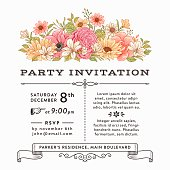 Invitation with colorful vintage flowers.File is layered with global colors.Hi res jpeg without text included.More works like this linked below.