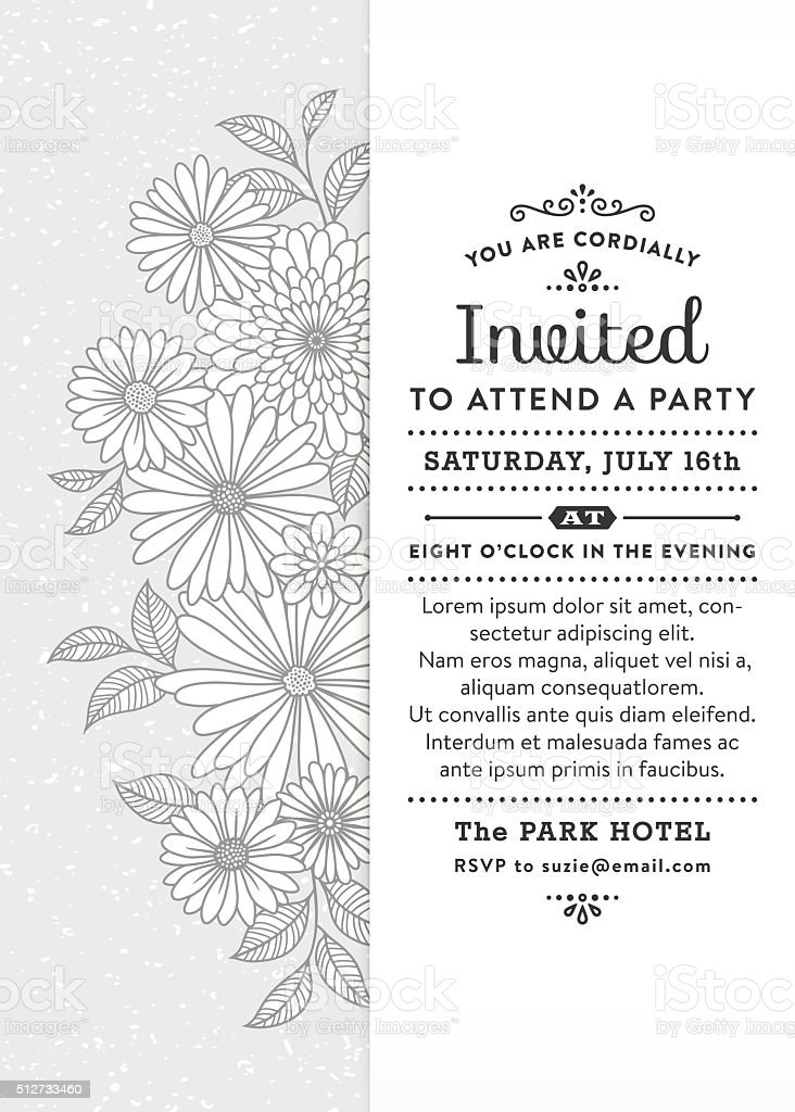 Floral Party Invitation vector art illustration