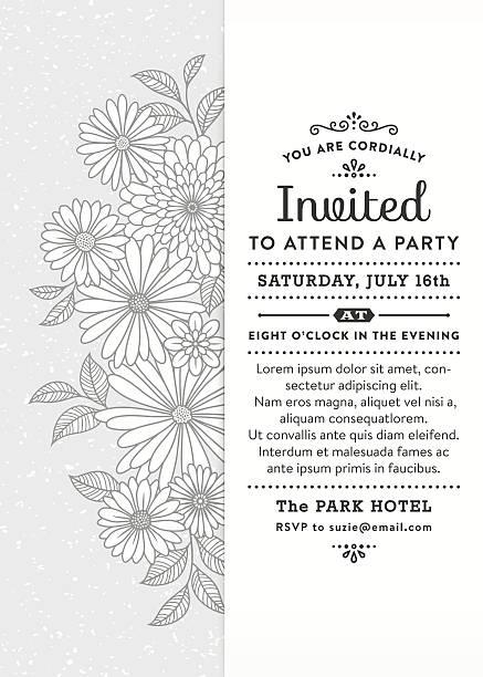 Floral Party Invitation vector art illustration