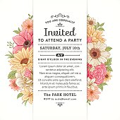 Invitation with colorful flowers and leaves.File is layered with global colors.Hi res jpeg without text included.More works like this linked below.