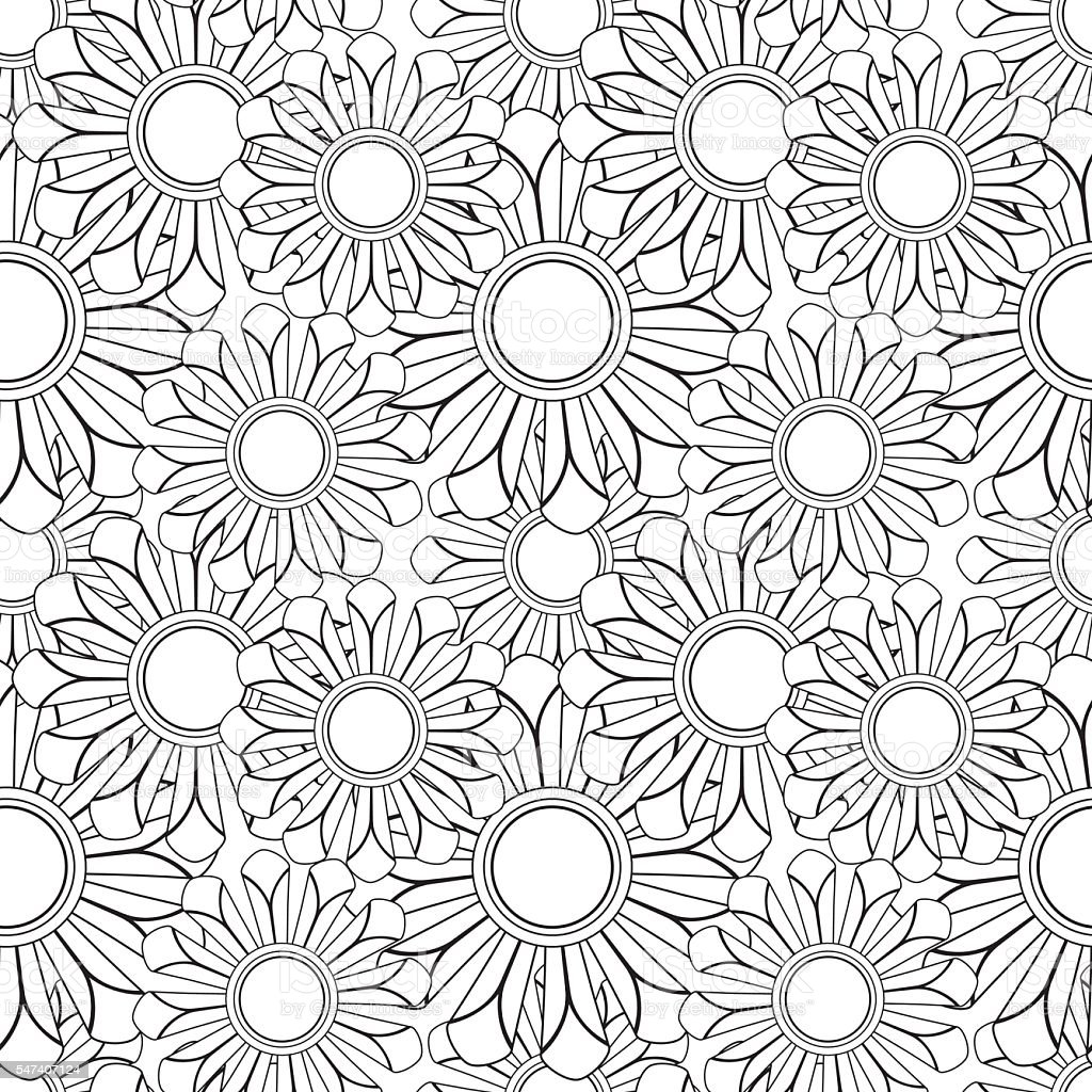 Floral Pattern Adult Coloring Page Stock Vektor Art und mehr ...