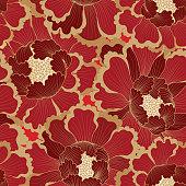 Floral pattern. Flower seamless background. Flourish ornamental garden wallpaper in retro eastern oriental style