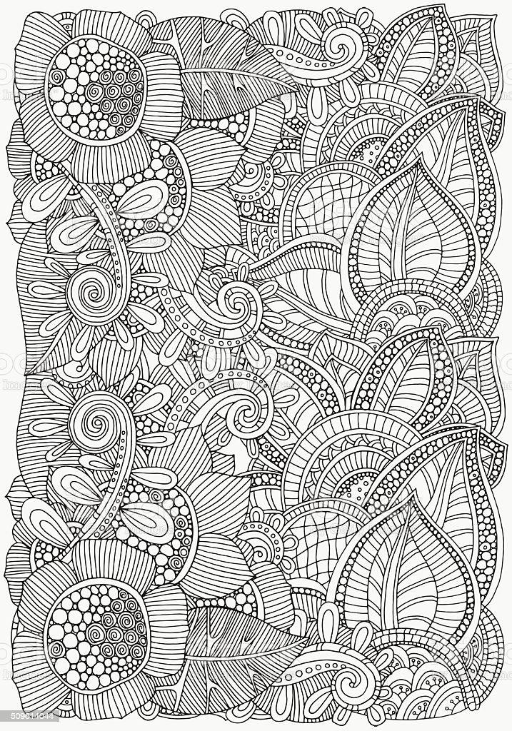 Ilustración de Patrón Flores Para Colorear Libro De Tamaño A4 y más ...