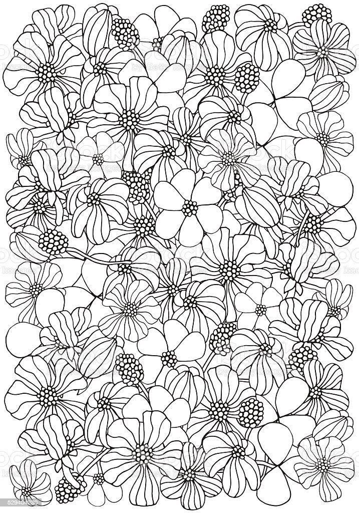 Floral Pattern For Coloring Book A4 Size Royalty Free Stock Vector Art