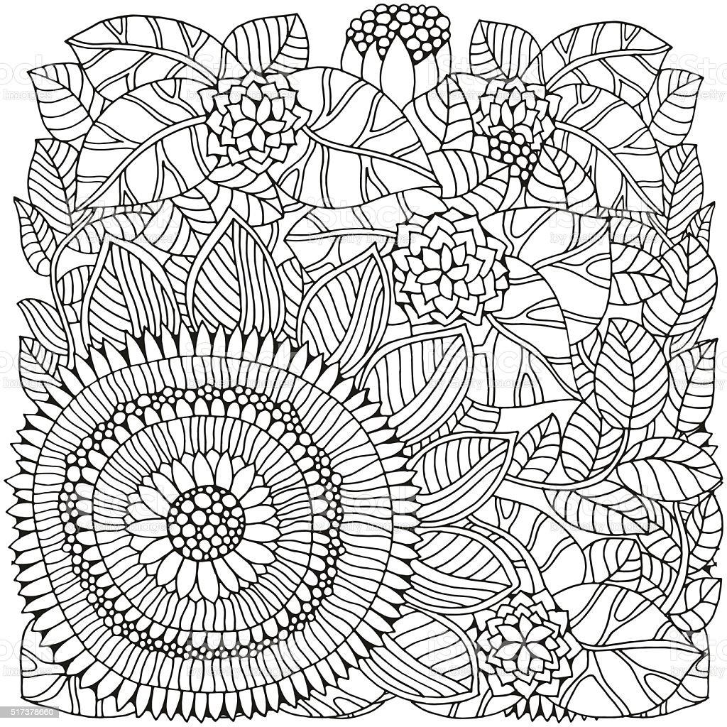 Ilustración de Patrón Flores Para Colorear Libro y más banco de ...