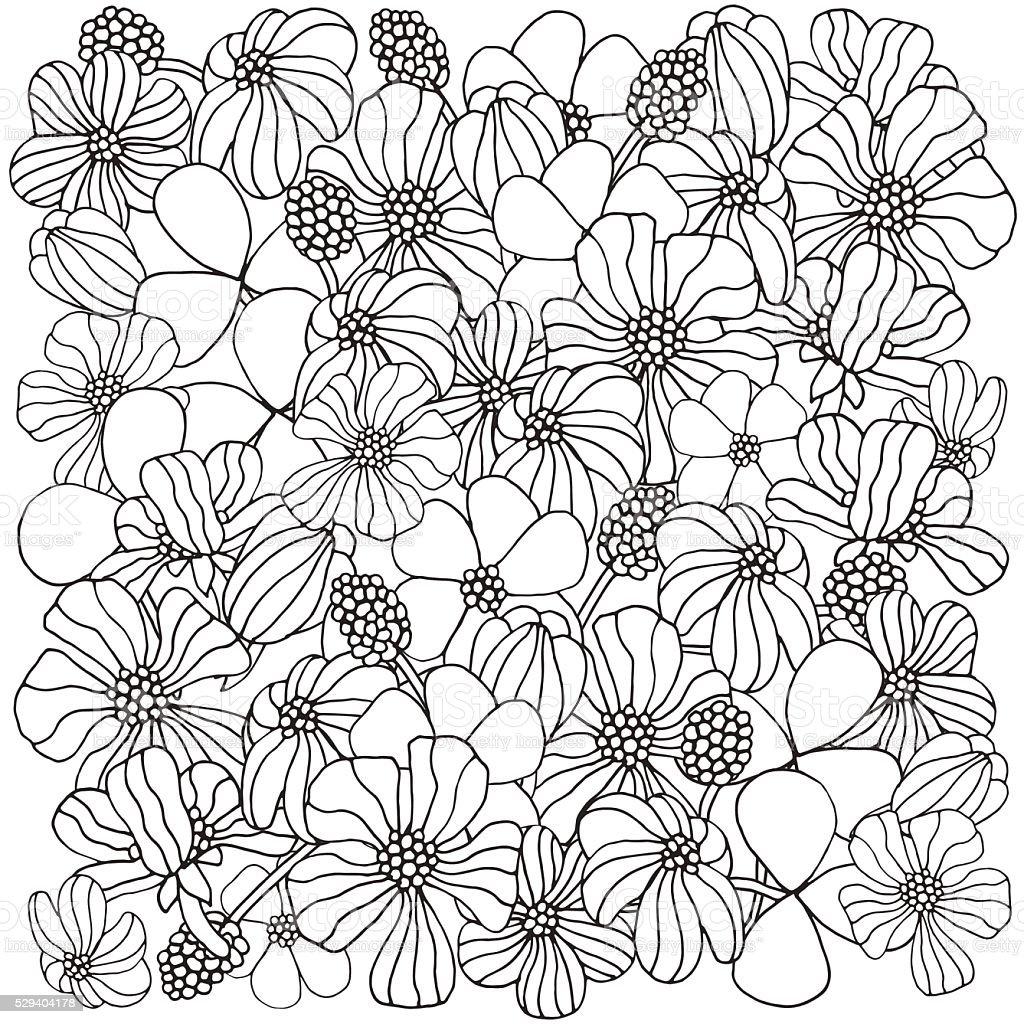 Ilustración De Patrón Flores Para Colorear Libro Y Más Vectores