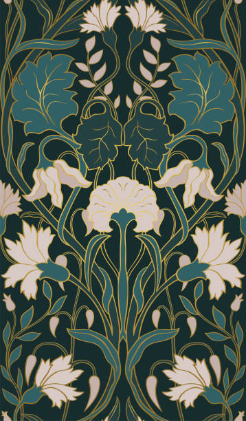Floral pattern for wallpaper. Beautiful floral pattern. Seamless filigree ornament. Stylized template for wallpaper, textile, linen, bedspread, curtain, shawl, carpet. tapestry stock illustrations