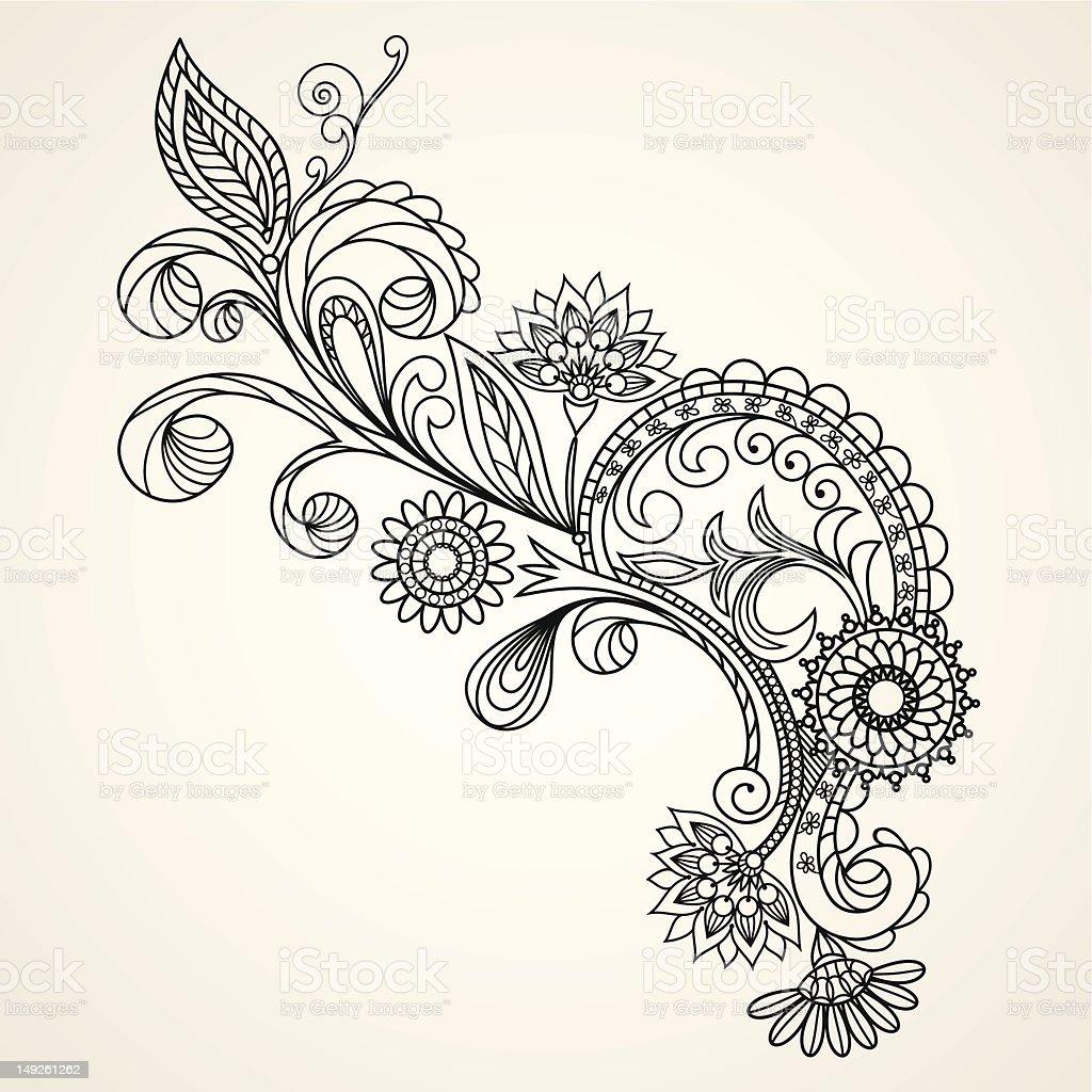 floral pattern hand drawing illustration vector art illustration